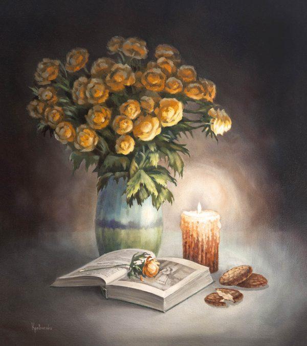 """картина маслом на холсте """"Читая роман"""", автор Юлия Кравченко."""