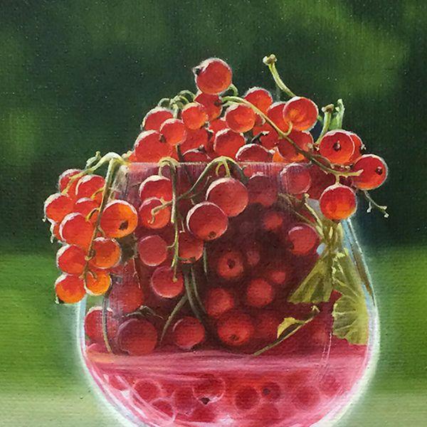 """картина маслом """"Красная смородина в бокале"""", фрагмент"""