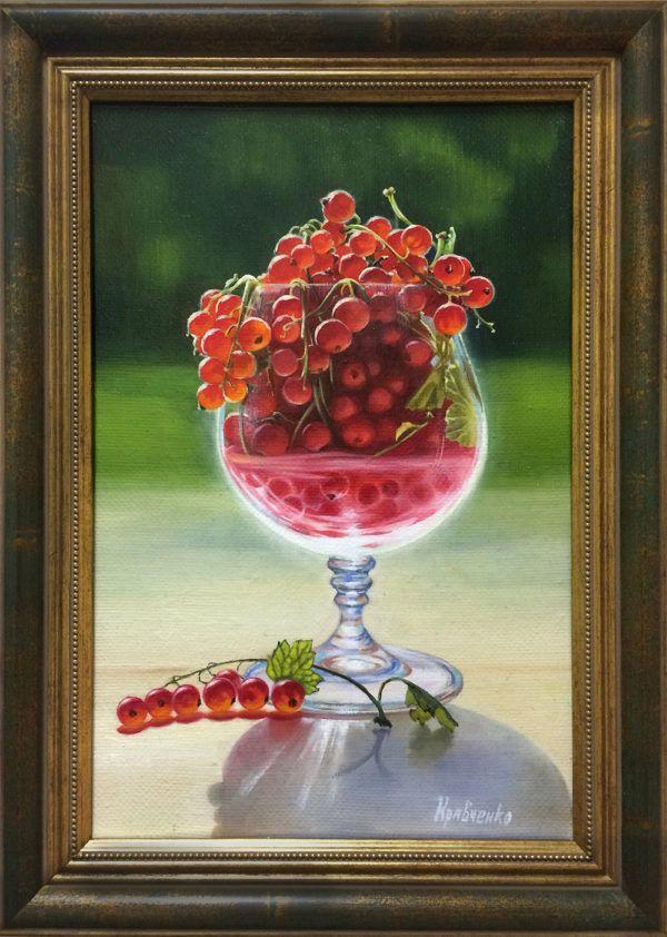 """картина маслом """"Красная смородина в бокале"""""""
