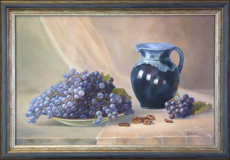 """картина маслом """"Натюрморт с виноградом и кувшином"""""""