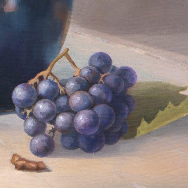 """фрагмент картины маслом """"Натюрморт с виноградом и кувшином"""""""