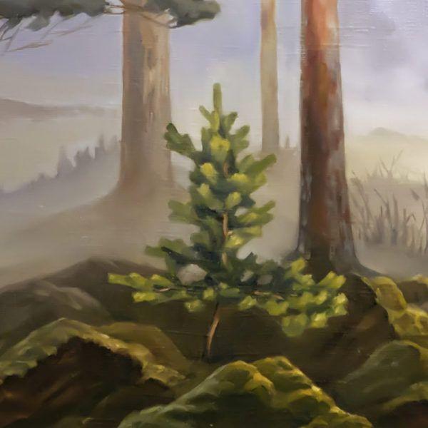 "картина ""Туманное утро в лесу"", фрагмент"