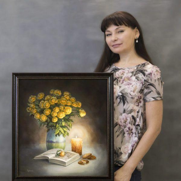 """картина маслом """"Читая роман""""и автор Юлия Кравченко"""