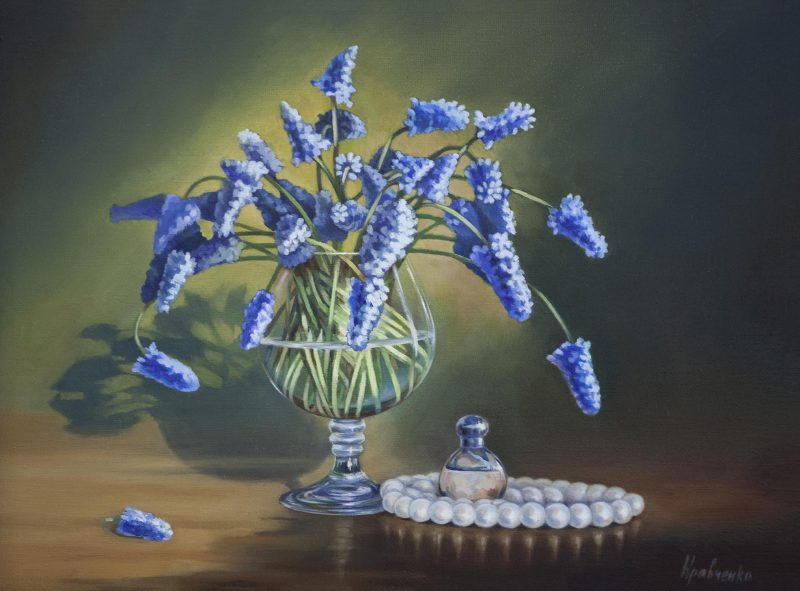 "картина маслом на холсте ""Мускари"" , автор Юлия Кравченко."