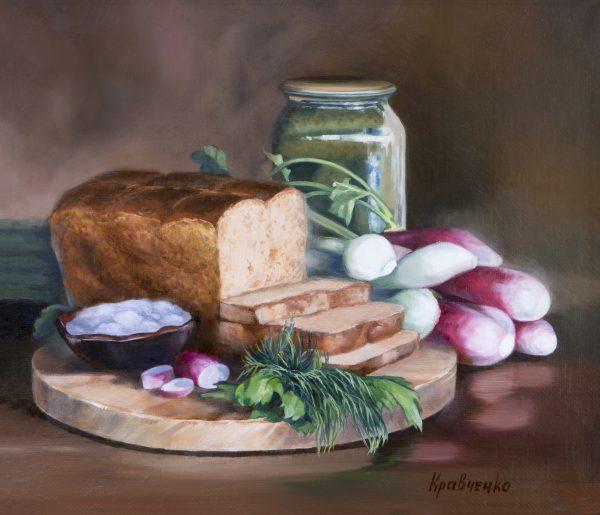 """Картина маслом """"Натюрморт с хлебом и редиской"""", автор Юлия Кравченко"""