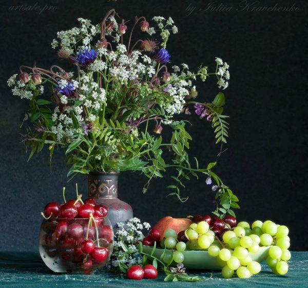 фото натюрморта с полевыми цветами