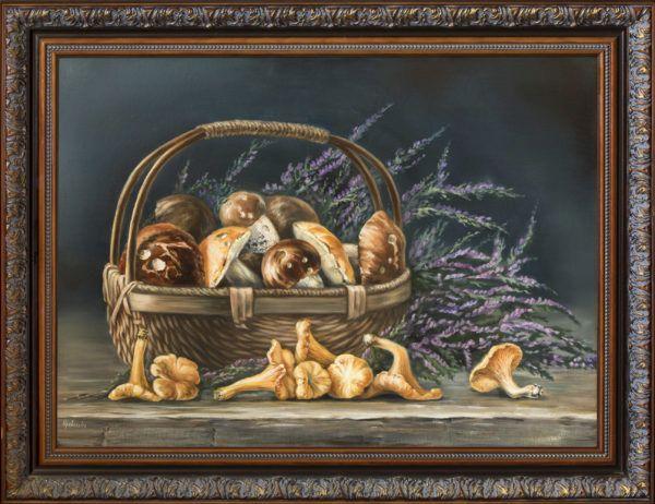 """картина маслом """"Натюрморт с грибами и вереском"""""""