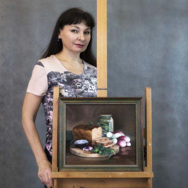 """картина """"Натюрморт с хлебом и редиской"""""""