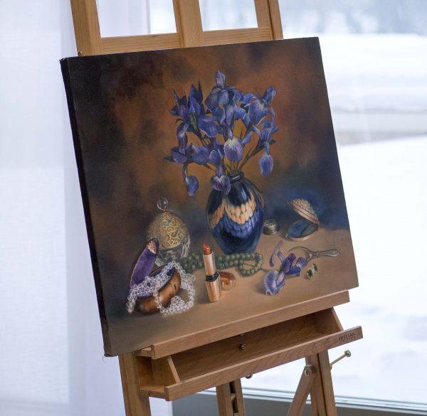"""Картина маслом на холсте """"Цвет настроения - ирисы"""", автор Юлия Кравченко."""