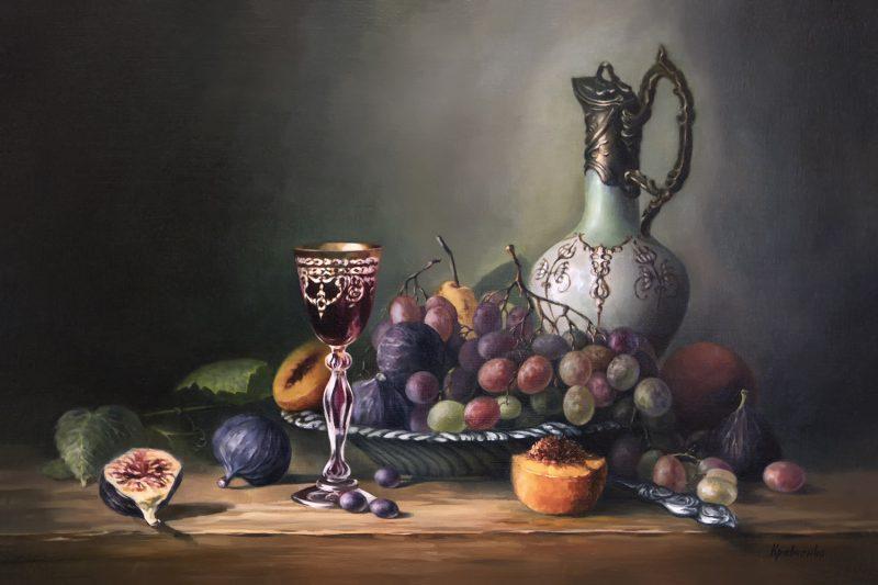 Натюрморт с хрустальным бокалом, автор Юлия Кравченко.