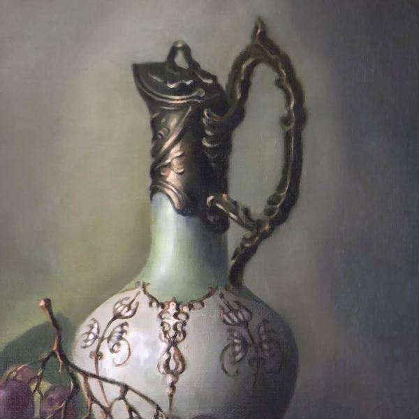 натюрморт с хрустальным бокалом, фрагмент