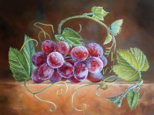 "картина маслом ""Виноград после дождя и бабочка"""