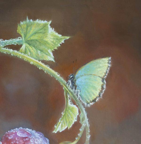 """фрагмент картины маслом """"Виноград после дождя и бабочка"""""""